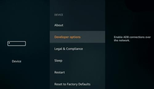 click on developer options